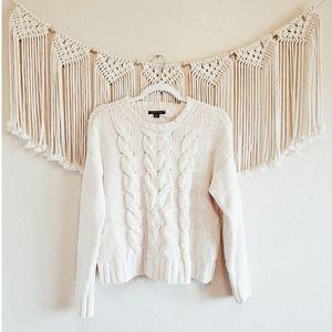 AE Cream Cable Knit Crewneck Chenille Sweater sz S